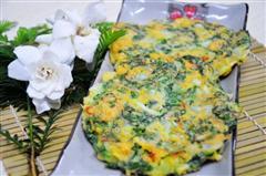 青菜虾皮鸡蛋饼