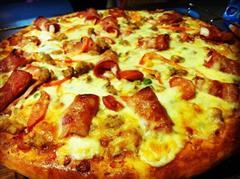 培根卷大虾披萨