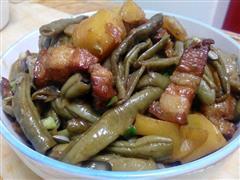 红烧肉炖豆角