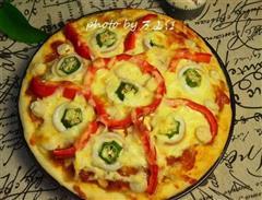 鱿鱼带子海鲜披萨