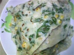 芹菜叶玉米粒煎饼