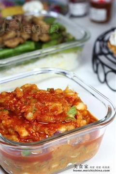 辣白菜土豆泥拌饭