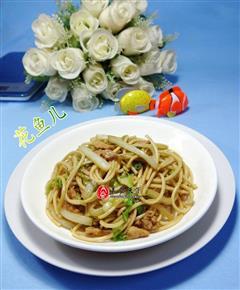 肉丝白菜炒面