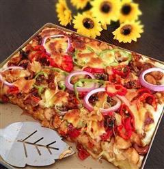腰果鸡丁厚饼披萨