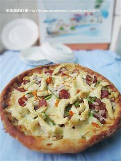 香肠鸡肉披萨