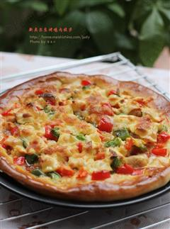 烤鸡肉披萨
