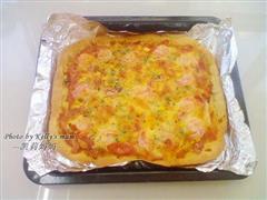 鲜虾火腿培根披萨