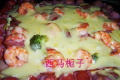 紫薯海鲜培根披萨
