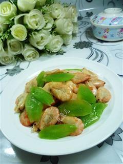 江白虾炒莴笋