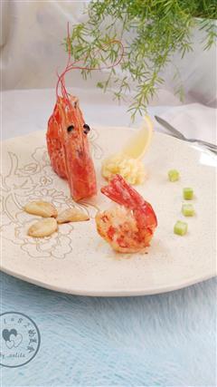 南美红虾配土豆泥