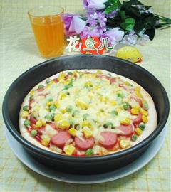 青豆玉米粒火腿披萨