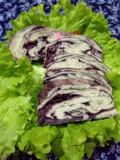 香甜咸紫薯酱馒头切片