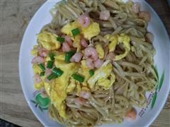 鲜虾鸡蛋炒面