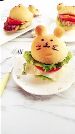 卡通动物汉堡包