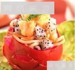 火龙果凉拌海鲜炒面