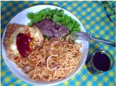 中式牛排+自酿红酒+番茄炒面