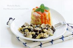 蘑菇烘蛋配奶香火腿土豆泥