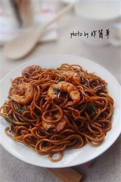 香椿虾仁炒面