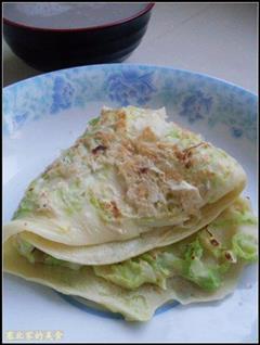 白菜虾皮鸡蛋饼