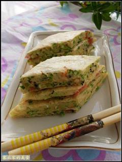 韭菜西红柿鸡蛋饼