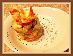 酒烹虾配龙利鱼黄油杂菜土豆泥