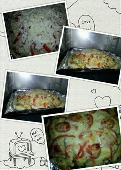 蒜蓉香菇腊肉披萨