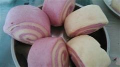 平底锅版水煎双色紫薯馒头