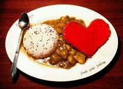 甜蜜七夕-汉堡红心咖喱饭