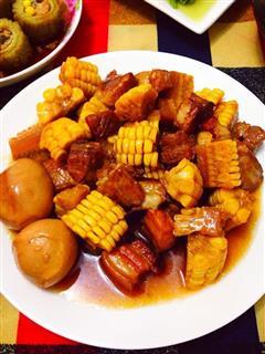 红烧肉烧玉米