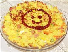 有营养的中国披萨六色蔬菜鸡蛋饼