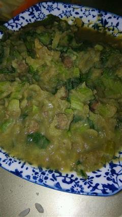 腌猪肉小白菜土豆泥