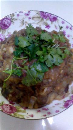 肉酱拌茄子土豆泥
