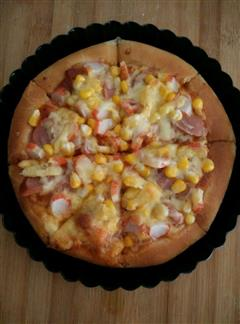 蟹柳香肠披萨