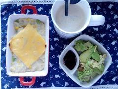奶酪焗土豆泥&牛油果&咖灰奶