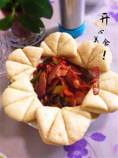 荷叶饼青红椒腊肉