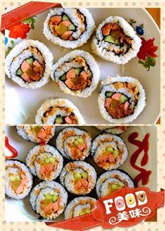两种手工寿司与可爱饭团