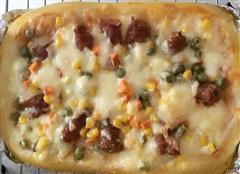 培根玉米方披萨