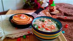 小虾油菜粥配牛奶鸡蛋饼