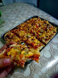 简易五花肉鱿鱼披萨