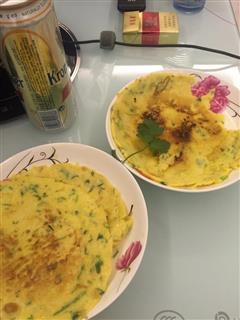 鸡蛋香菜虾米煎饼