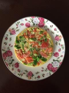 西红柿青椒煎鸡蛋饼