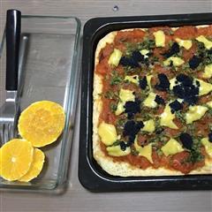 黑色鱼籽酱披萨