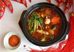 鸡汤杂蔬麻辣火锅
