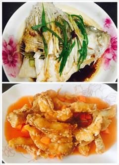 一鱼两吃-糖醋鲈鱼vs清蒸鲈鱼头