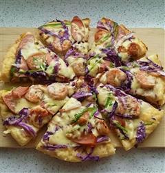 紫甘蓝虾仁披萨