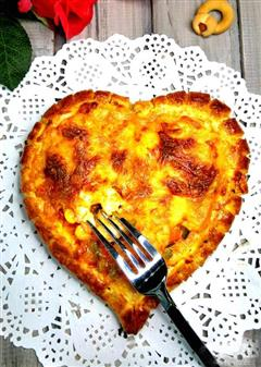 心形鲜虾香肠包边披萨