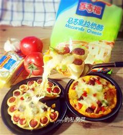 黑胡椒牛肉烤肠花边披萨