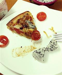 黑椒情人蔓越莓火龙果鸡肉披萨