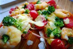 鲜虾培根薄底至尊披萨
