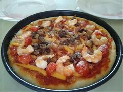 牛肉鲜虾披萨